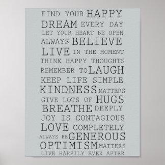 Positive Gedanken-inspirierend Wörter Poster