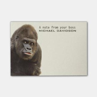 Post-Itanmerkungen Text des lustigen Gorillas Post-it Klebezettel