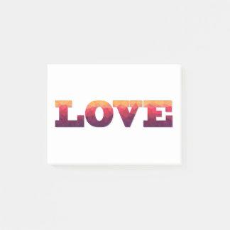 Post-Itanmerkungs-Liebe ord in Lila, rosa, Gelb Post-it Klebezettel