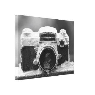 Posten-Eis-Sturm-Vintage schwarze u. weiße Kamera Galerie Falt Leinwand