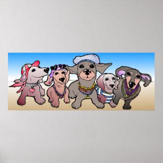 Poster Dackel Hunde am Strand