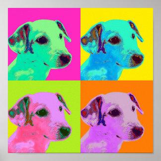 Poster. Hund, junger Terrier Welpe. Popart Poster
