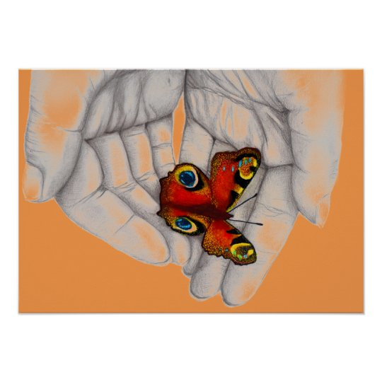 Poster Schmetterling pastell