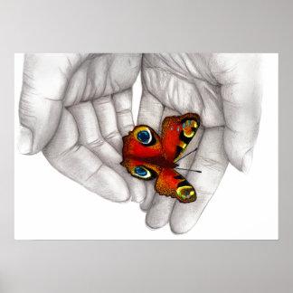 Poster Schmetterling weiß
