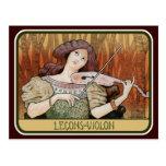 Postercard: Violinen-Lektionen durch Paul Berthon Postkarten