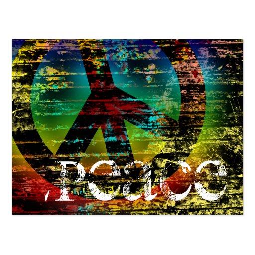 Postkarte, abstrakter Regenbogengrunge-Frieden