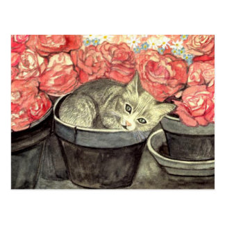 "Postkarte Aquarell ""Kätzchen im Blumentopf"""