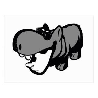 Postkarte - cooles Sommerzeit-Flusspferd -