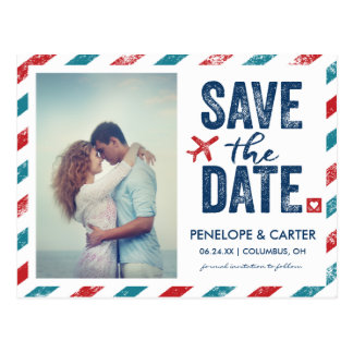 Postkarte der Hochzeit in Urlaubsorts-  Save the