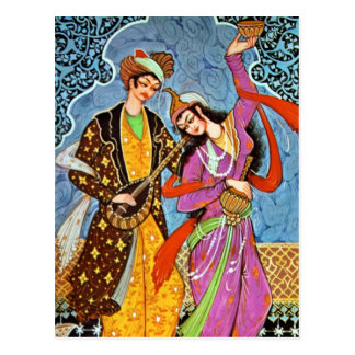 Postkarte des Tanzens Nymphe und des Musikers
