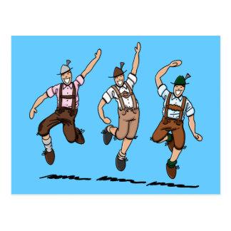 Postkarte, die bayerische Lederhosen-Männer tanzt Postkarten