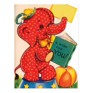 Postkarte Elefant| Vintage Valentine-|