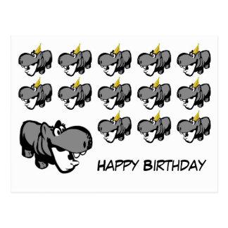 Postkarte - Flusspferd-alles Gute zum Geburtstag -