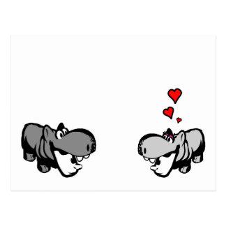 Postkarte - Flusspferd in der Liebe - Nilpferd