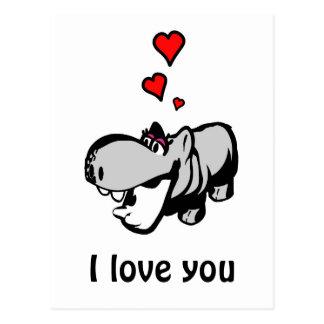 Postkarte - Flusspferd in der Liebe - verliebtes