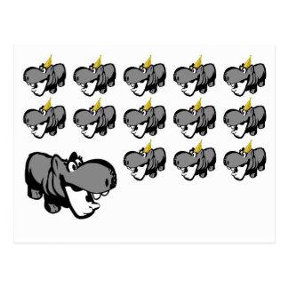 Postkarte - Flusspferd-Party - Nilpferd Feier