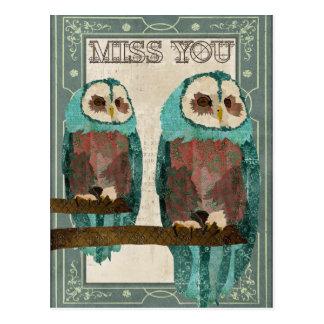 Postkarte Fräulein-You Vintage Azure Owl