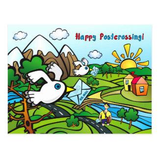 """Postkarte """"glückliches Postcrossing!"""" -"""