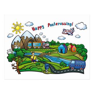 """Postkarte """"glückliches Postcrossing! """""""