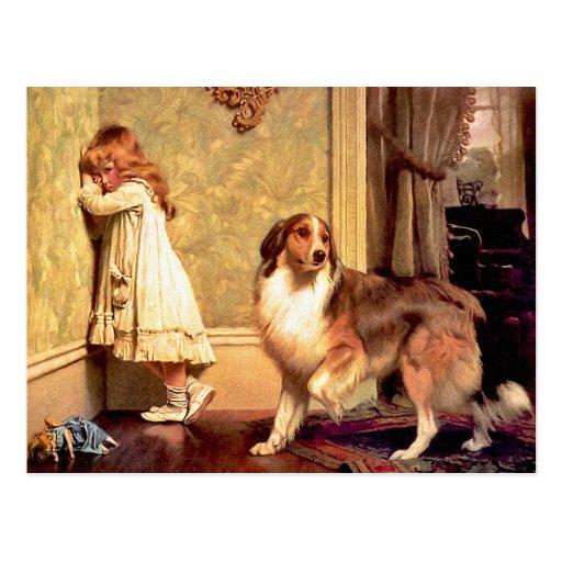 Postkarte: Mädchen mit Haustier Sheltie