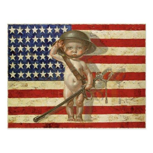 Postkarte mit Baby-Kriegs-Held auf amerikanischer