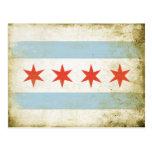 Postkarte mit beunruhigtem Chicago-Flaggen-Druck
