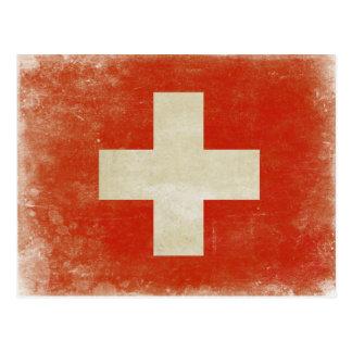 Postkarte mit beunruhigter die Schweiz-Flagge
