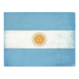 Postkarte mit beunruhigter Flagge von Argentinien