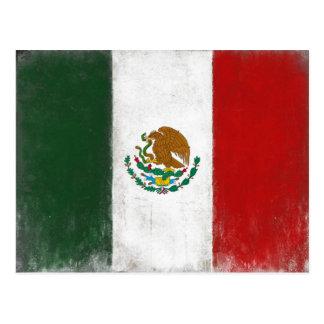 Postkarte mit beunruhigter Flagge von Mexiko