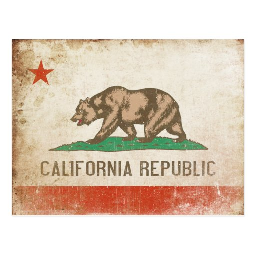 Postkarte mit cooler Kalifornien-Flagge