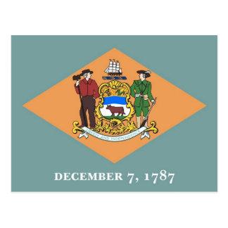 Postkarte mit Flagge von Delaware-Staat - USA