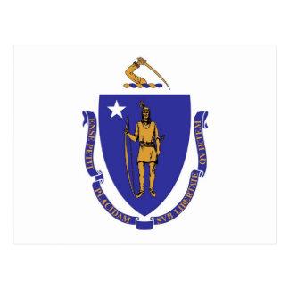 Postkarte mit Flagge von Massachusetts-Staat - USA