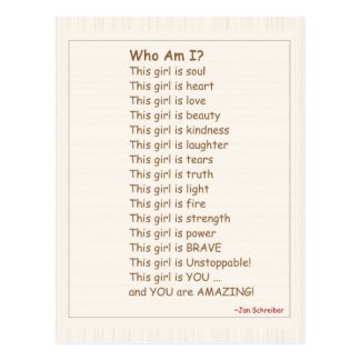 Postkarte mit Gedicht, Ermutigung für Mädchen