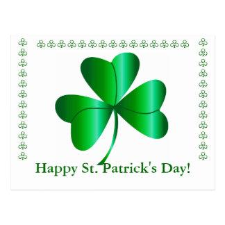Postkarte mit Kleeblatt, St Patrick Tagesgruß