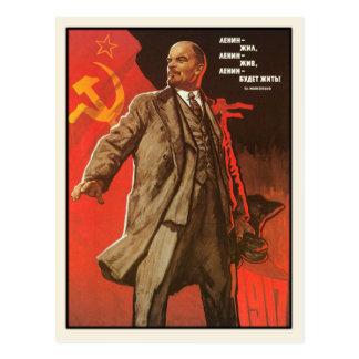 Postkarte mit Retro Lenin-Plakat-Druck