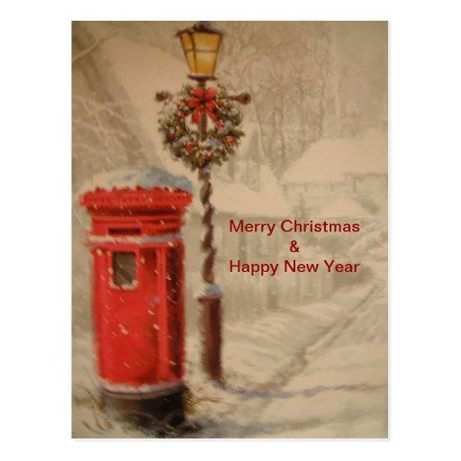 Postkarte mit rotem Posten-Kasten