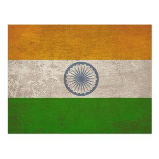 Postkarte mit schmutziger Flagge von Indien