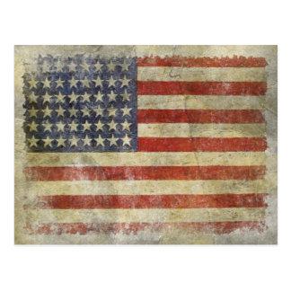 Postkarte mit schmutziger Vintager Flagge von USA