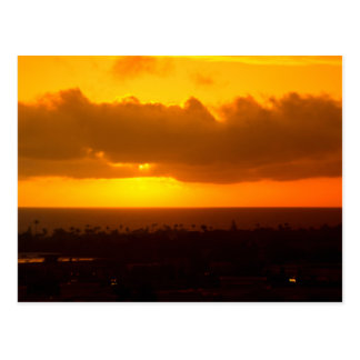 Postkarte mit Sonnenuntergang-Ozeanufer, CA