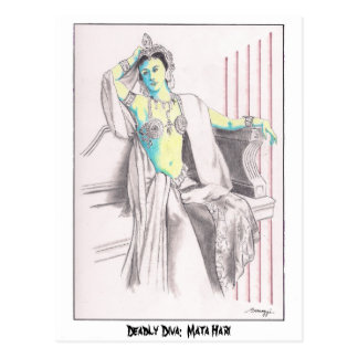 Postkarte mit ursprünglicher Kunst von Mata Hari