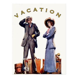 Postkarte mit Vintagem Ferien-Druck