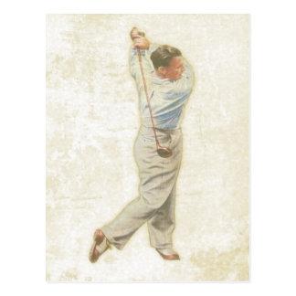 Postkarte mit Vintagem Golf-Spieler