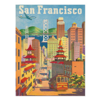 Postkarte mit Vintagem San Francisco Plakat Postkarte