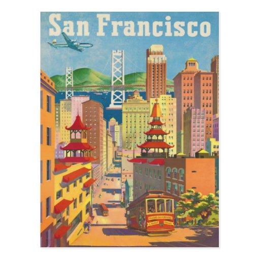Postkarte mit Vintagem San Francisco Plakat