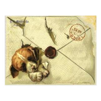Postkarte mit Vintagem Schrott-Buch-Welpen