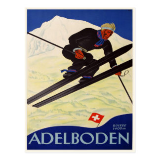 Postkarte mit Vintagem Ski-Erholungsort-Druck