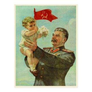 Postkarte mit Vintagem Stalin-Propaganda-Druck