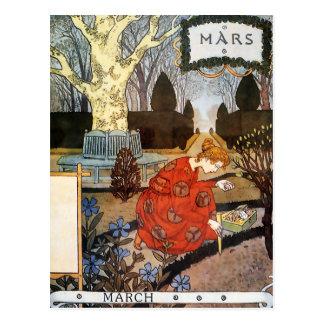 Postkarte: Monat März - Mars Postkarte