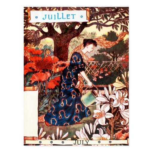 Postkarte: Monat von Juli - Jullet