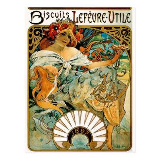 Postkarte: Mucha - Kekse Lefevre Utile Postkarte